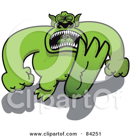 Royalty-Free (RF) Clipart Illustration of a Huge Green Monster Throwing A Temper Tantrum And Stomping by Zooco