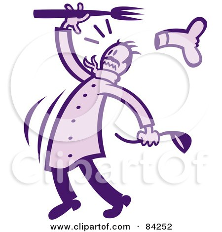 Royalty-Free (RF) Clipart Illustration of a Busy Purple Chef by Zooco