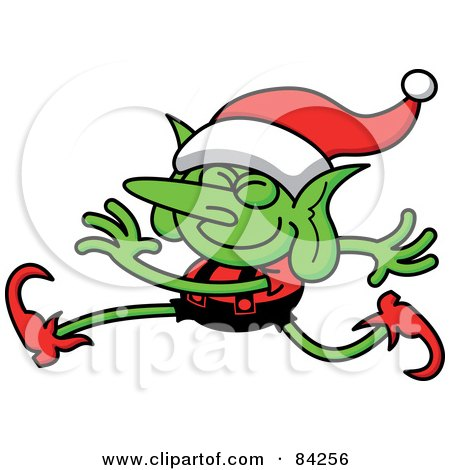Royalty-Free (RF) Clipart Illustration of a Jolly Walking Christmas Elf In Uniform by Zooco