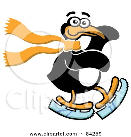 Royalty-Free (RF) Clipart Illustration of a Happy Ice Skating Penguin Wearing A Scarf by Zooco