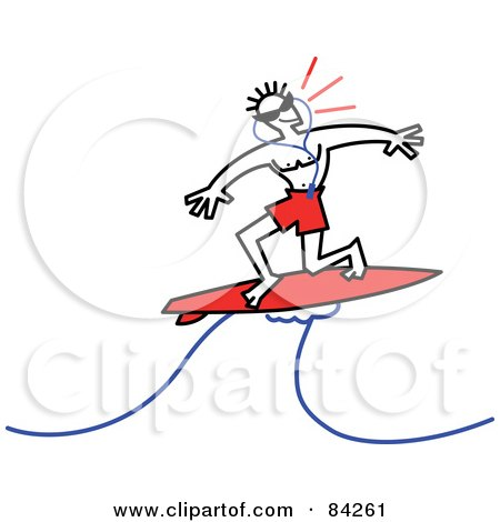 Surfer Dude Listening To Music And Riding A Wave Posters, Art Prints