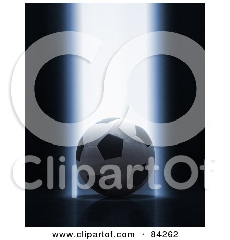 Royalty-Free (RF) Clipart Illustration of a Bright Beam Of Light Shining Down On A 3d Soccer Ball by stockillustrations