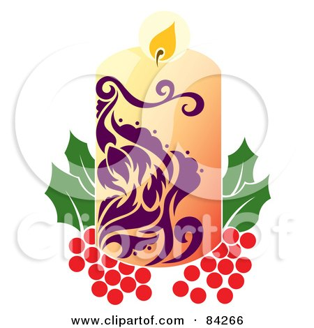 Royalty-Free (RF) Clipart Illustration of a Purple And Beige Christmas Candle Resting On Holly by Cherie Reve