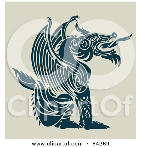 Royalty-Free (RF) Clipart Illustration of a Sitting, Fire Breathing, Teal Dragon In Profile by Cherie Reve