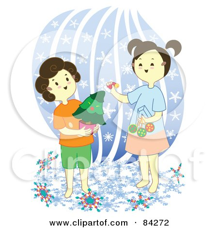 Royalty-Free (RF) Clipart Illustration of Two Sisters Decorating A Mini Christmas Tree by Cherie Reve