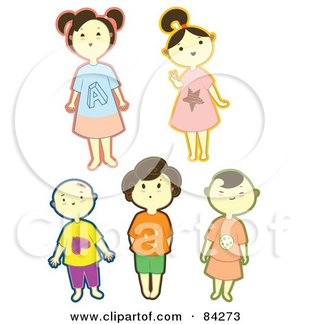 Royalty-Free (RF) Clipart Illustration of a Digital Collage Of Happy Little Boys And Girls With Bold Outlines by Cherie Reve