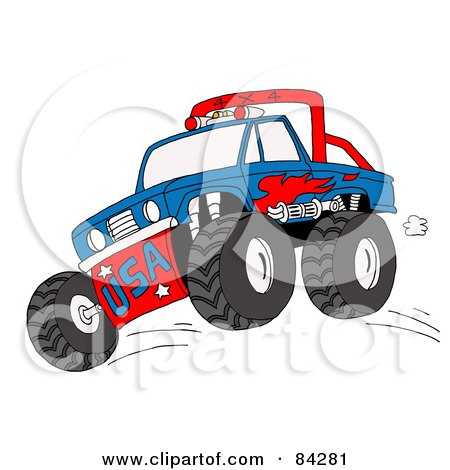 Royalty-Free (RF) Clipart Illustration of a Blue And Red Monster Truck Jumping by LaffToon