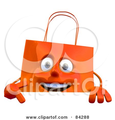 Royalty-Free (RF) Clipart Illustration of a 3d Orange Shopping Bag Holding A Blank Sign by Julos