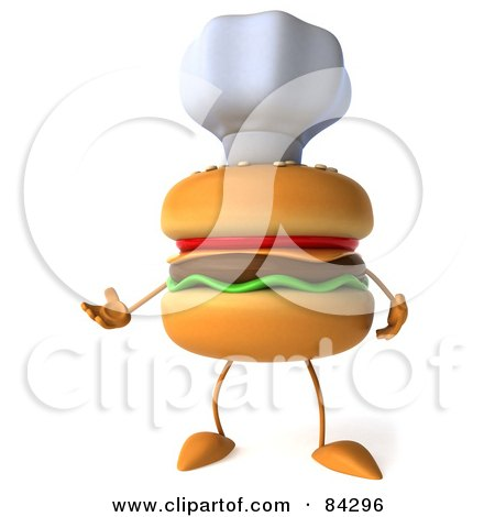 Royalty-Free (RF) Clipart Illustration of a 3d Cheeseburger Character Wearing A Chef Hat And Facing Slightly Left by Julos