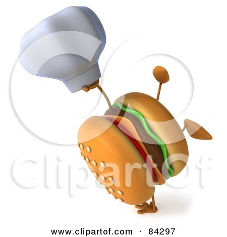 Royalty-Free (RF) Clipart Illustration of a 3d Cheeseburger Character Holding A Chef Hat And Doing A Hand Stand by Julos