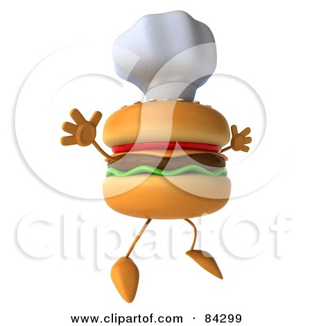 Royalty-Free (RF) Clipart Illustration of a 3d Cheeseburger Character Wearing A Chef Hat And Jumping In The Air by Julos