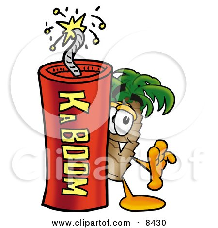Clipart Picture of a Palm Tree Mascot Cartoon Character Standing With a Lit Stick of Dynamite by Toons4Biz