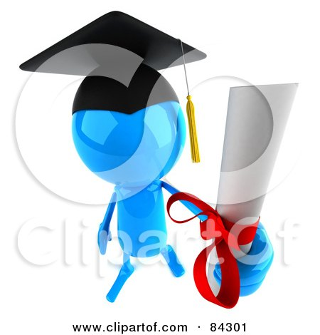 Royalty-Free (RF) Clipart Illustration of a 3d Blue Bob Character Graduate Holding Out A Diploma by Julos