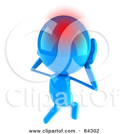 Royalty-Free (RF) Clipart Illustration of a 3d Blue Bob Character With A Migraine by Julos