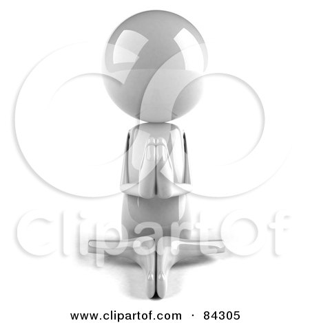 Royalty-Free (RF) Clipart Illustration of a 3d White Bob Character Meditating - Pose 1 by Julos