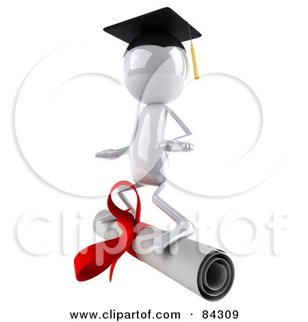 Royalty-Free (RF) Clipart Illustration of a 3d White Bob Character Surfing On A Diploma by Julos