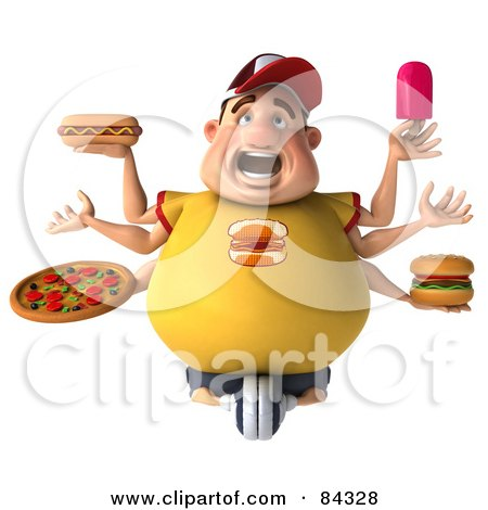 Screaming 3d Chubby Burger Man With Six Arms, Holding Unhealthy Food Posters, Art Prints