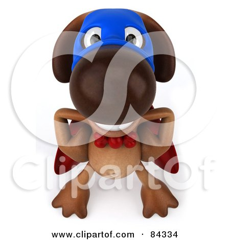 Royalty-Free (RF) Clipart Illustration of a 3d Brown Pooch Super Hero Smiling Upwards by Julos