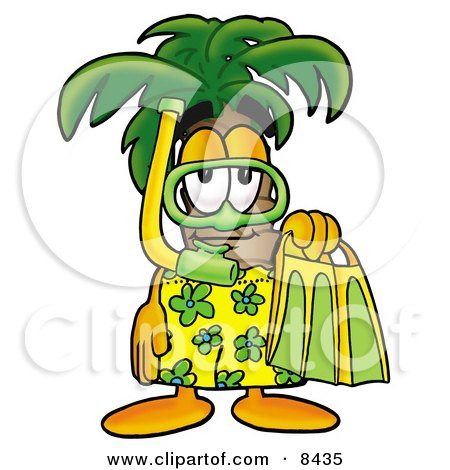 Clipart Picture of a Palm Tree Mascot Cartoon Character in Green and Yellow Snorkel Gear by Toons4Biz