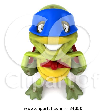 Royalty-Free (RF) Clipart Illustration of a 3d Chuck Tortoise Super Hero Smiling Upwards by Julos