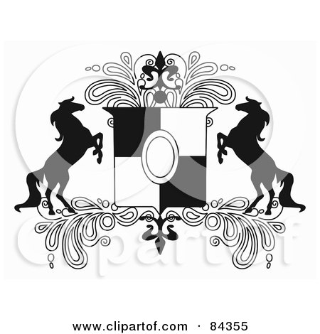 Royalty-Free (RF) Clipart Illustration of a Black And White Rearing Horse Crest With Paisleys by C Charley-Franzwa