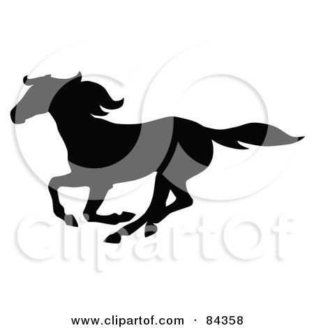 Royalty-Free (RF) Clipart Illustration of a Black Galloping Horse Silhouette by C Charley-Franzwa