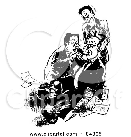 Royalty-Free (RF) Clipart Illustration of a Black And White Sketch Of Men Checking To See If Their Drunk Boss Is Dead Or Alive by Alex Bannykh