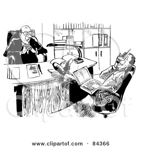 Royalty-Free (RF) Clipart Illustration of a Black And White Sketch Of A Displeased Boss Watching His Employee Talk On A Cell Phone by Alex Bannykh
