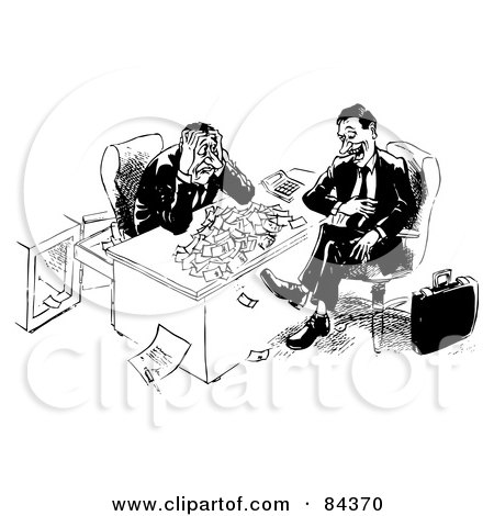 Royalty-Free (RF) Clipart Illustration of a Black And White Sketch Of An Annoying Man Taking All Of A Businessman's Money by Alex Bannykh