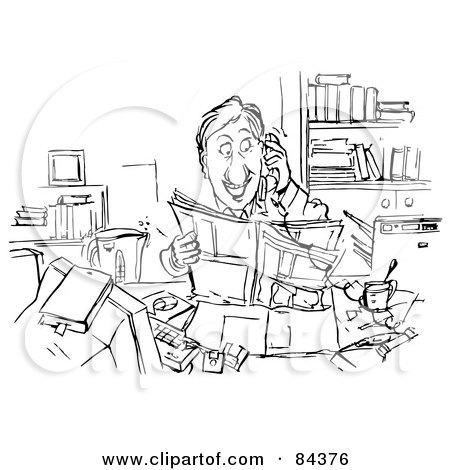 Royalty-Free (RF) Clipart Illustration of a Black And White Sketch Of A Happy Businessman Reading And Talking On A Phone by Alex Bannykh