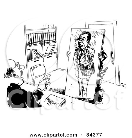 Royalty-Free (RF) Clipart Illustration of a Black And White Sketch Of A Man Standing Behind A Portrait At An Interview by Alex Bannykh
