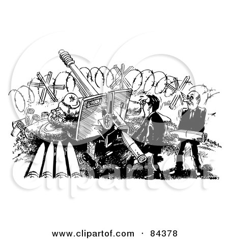 Black And White Sketch Of Businessmen Shooting Missiles Posters, Art Prints