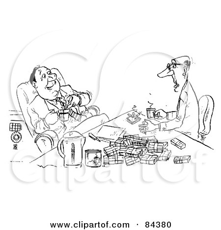 Royalty-Free (RF) Clipart Illustration of a Black And White Sketch Of Two Businessmen Sharing Coffee And Cigarettes by Alex Bannykh