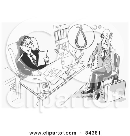 Royalty-Free (RF) Clipart Illustration of a Black And White Sketch Of A Man Reading A Stressed Applicants Resume by Alex Bannykh