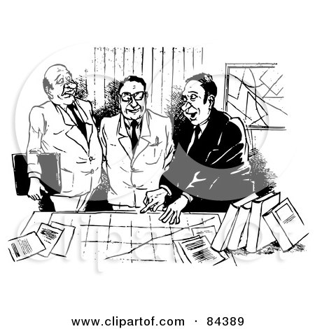Royalty-Free (RF) Clipart Illustration of a Black And White Sketch Of Three Businessmen Discussing A Chart by Alex Bannykh