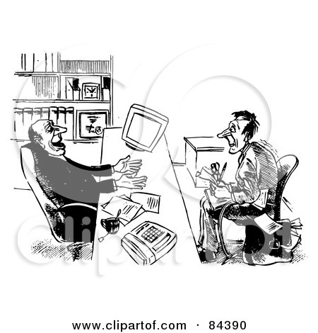 Royalty-Free (RF) Clipart Illustration of a Black And White Sketch Of A Job Applicant Winning Over A Businessman by Alex Bannykh