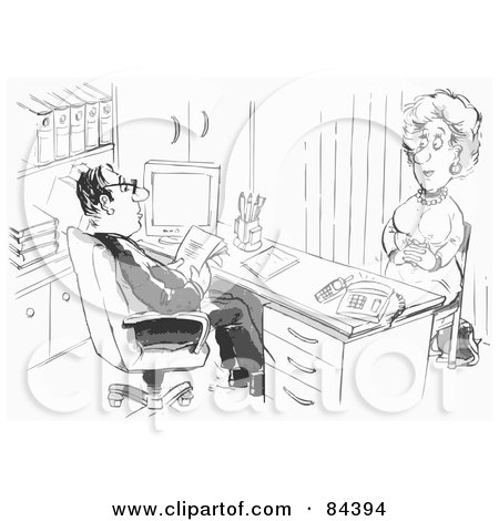 Royalty-Free (RF) Clipart Illustration of a Black And White Sketch Of A Boss Interviewing A Woman by Alex Bannykh