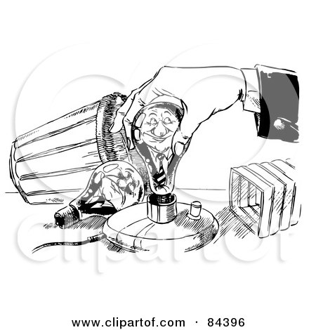 Royalty-Free (RF) Clipart Illustration of a Black And White Sketch Of A Hand Screwing In A Young Businessman Light Bulb by Alex Bannykh