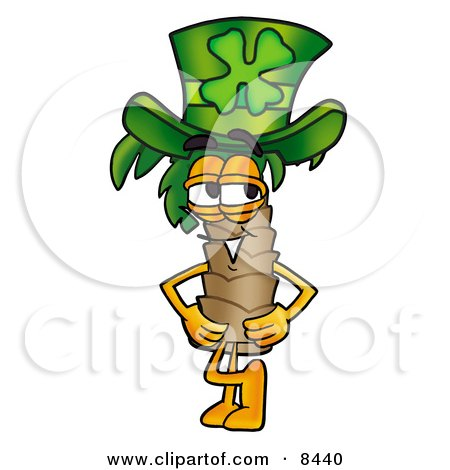 Clipart Picture of a Palm Tree Mascot Cartoon Character Wearing a Saint Patricks Day Hat With a Clover on it by Toons4Biz