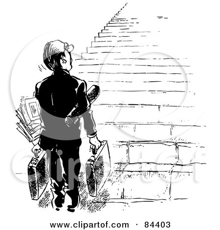 Royalty-Free (RF) Clipart Illustration of a Black And White Sketch Of A Businessman Looking Up At A Tall Staircase by Alex Bannykh
