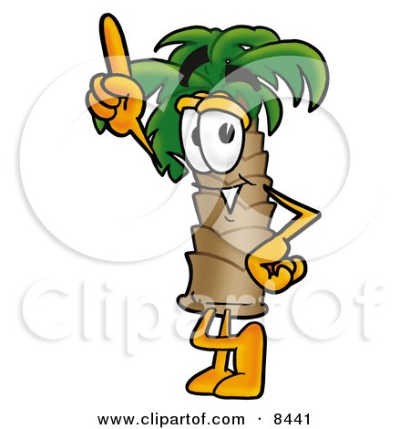 Clipart Picture of a Palm Tree Mascot Cartoon Character Pointing Upwards by Toons4Biz