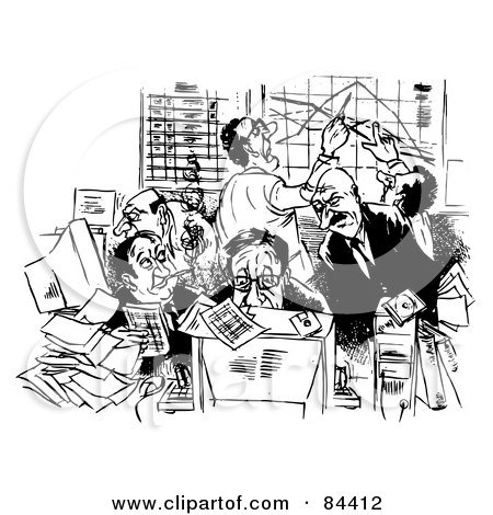 Royalty-Free (RF) Clipart Illustration of a Black And White Sketch Of Busy Businessmen With Computers And Charts by Alex Bannykh