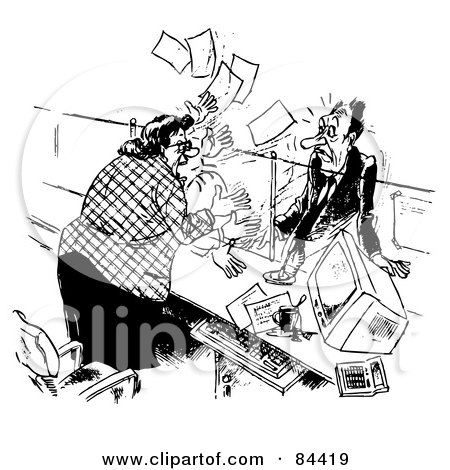 Royalty-Free (RF) Clipart Illustration of a Black And White Sketch Of An Angry Receptionist Freaking Out At Her Stumped Boss by Alex Bannykh