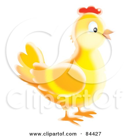 Happy Yellow Airbrushed Chicken Posters, Art Prints