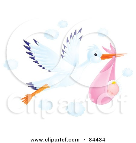 Royalty-Free (RF) Clipart Illustration of a Flying Airbrushed Stork With A Baby Girl by Alex Bannykh