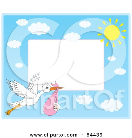 Royalty-Free (RF) Clipart Illustration of a Horizontal Border Of A Stork Flying A Baby Girl With Clouds And The Sun With White Space by Alex Bannykh