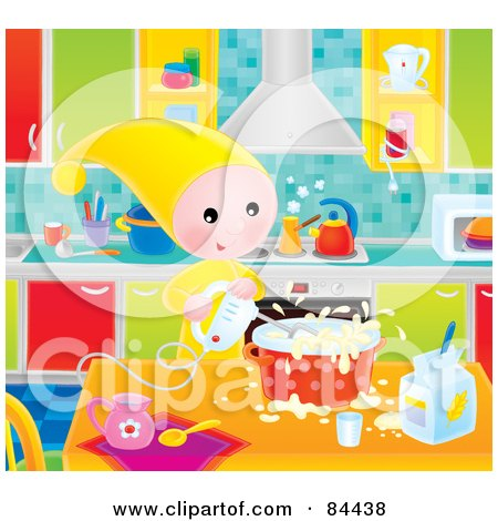 Royalty-Free (RF) Clip Art Illustration of a Happy Little Elf Using An Electric Mixer While Cooking In A Kitchen by Alex Bannykh