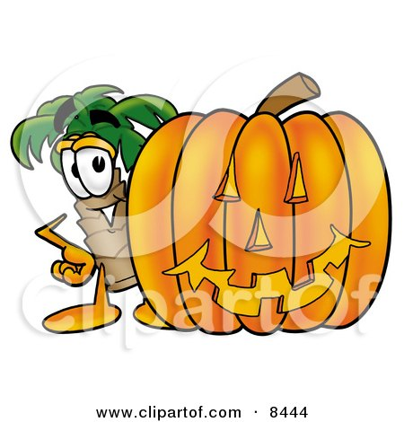 Clipart Picture of a Palm Tree Mascot Cartoon Character With a Carved Halloween Pumpkin by Toons4Biz