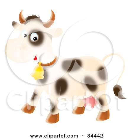 Royalty-Free (RF) Clipart Illustration of a Happy Airbrushed Cow Wearing A Bell by Alex Bannykh