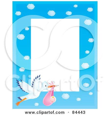 Royalty-Free (RF) Clipart Illustration of a Vertical Cloudy Blue Sky And Stork Carrying A Baby Girl Border Around White Space by Alex Bannykh
